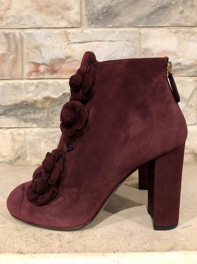 Chanel Camellia Flower Stiletto Ankle burgundy Boots Image 9