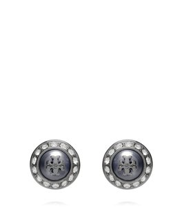 Tory Burch New Tory Burch Natalie Black Gun Metal Gray Crystal Stud Earrings