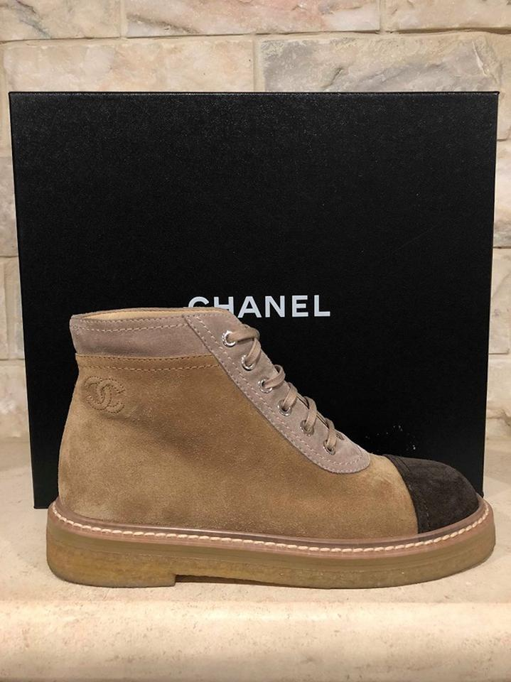 8aa833a2e2bac Chanel Beige 17k Nude Brown Suede Cc Lace Up Combat Short Ankle Boots/ Booties Size EU 40 (Approx. US 10) Regular (M, B) - Tradesy