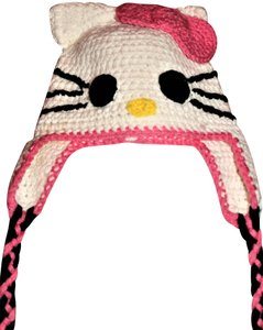 Hello Kitty NWOT New HELLO KITTY Knit Pink and White Winter Hat, one size