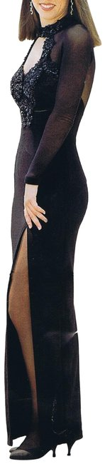 Just Female Black W Stretchy Sheer Sleeve High Neck Top W/Front Split Long Night Out Dress Size 16 (XL, Plus 0x) Just Female Black W Stretchy Sheer Sleeve High Neck Top W/Front Split Long Night Out Dress Size 16 (XL, Plus 0x) Image 1