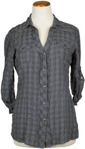 Dolled Up Junior Button Down Shirt Grey
