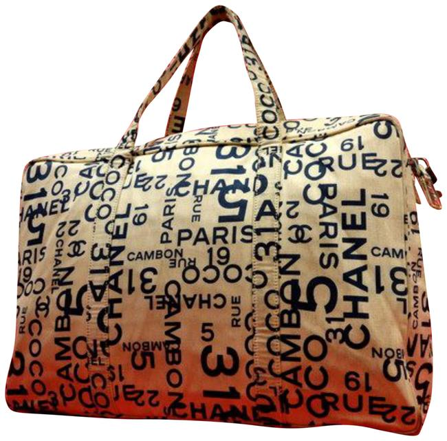Item - Cambon Rue Luggage 225345 Ivory X Navy Canvas Weekend/Travel Bag