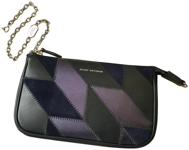 Item - Clutch Retro-style Azul Patchwork Zip Top Navy Purplish Blue Leather Wristlet
