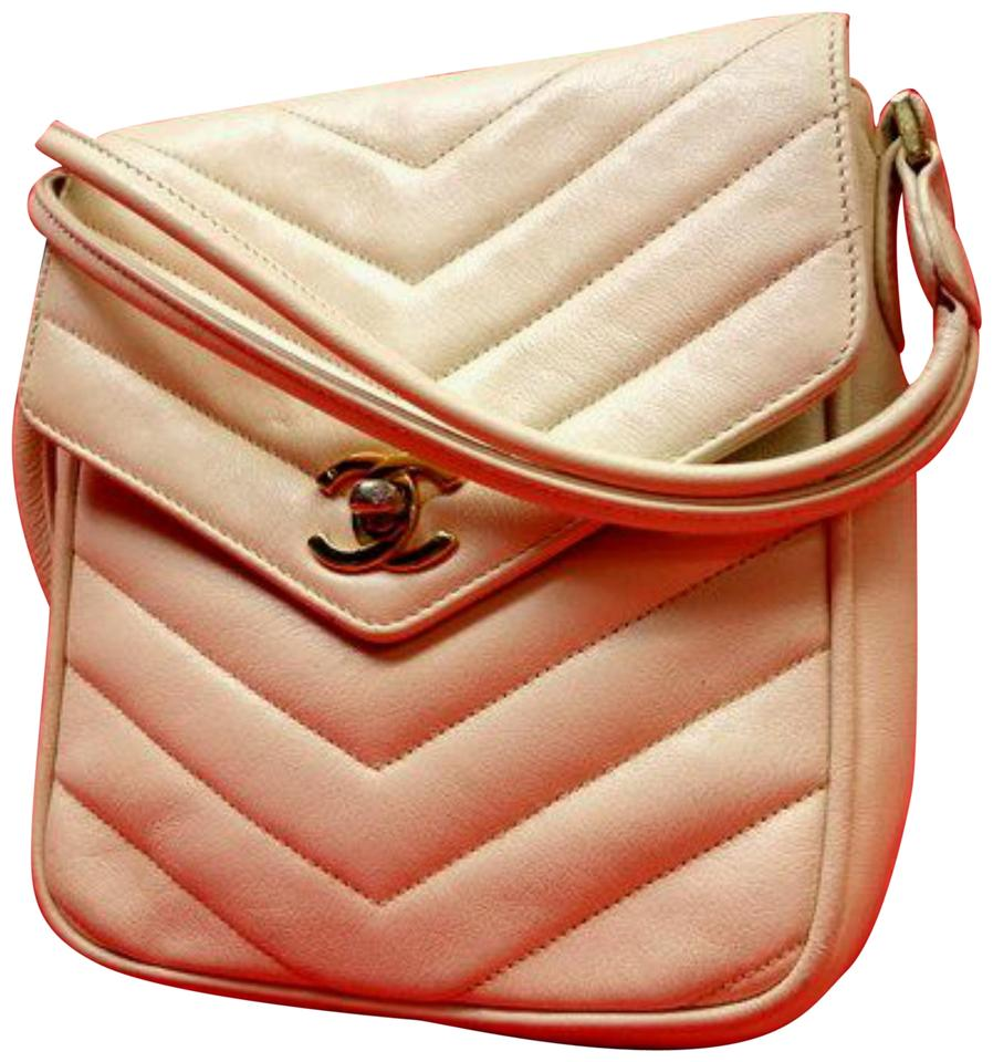c137592e23b4 Chanel Mini Flap 224211 Beige Chevron Quilted Lambskin .