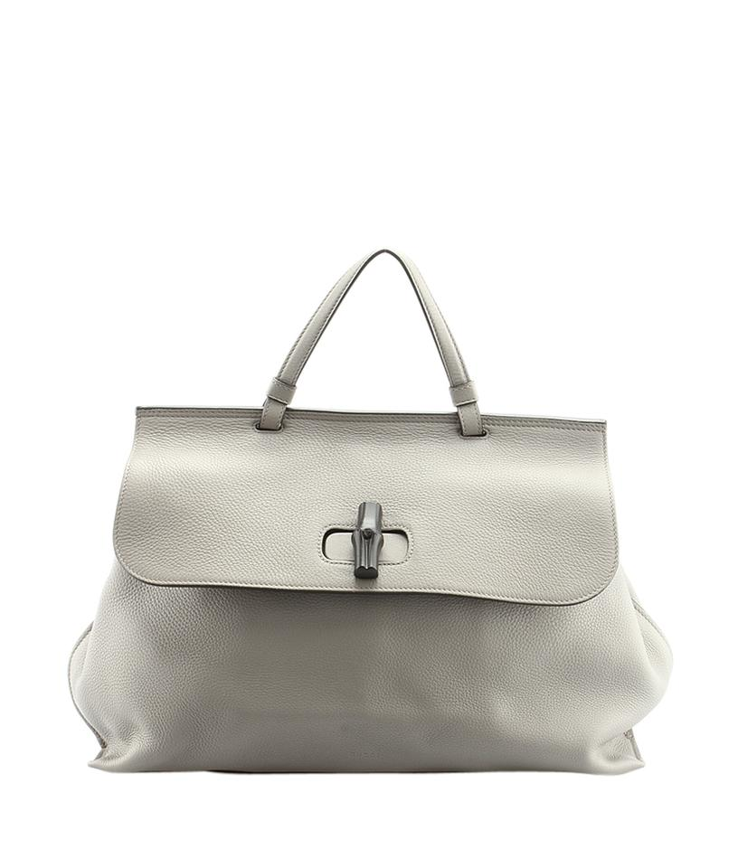 7fa9ab16ee8bba Gucci 370830 Bamboo Daily 2-way (142459) Grey Leather Shoulder Bag ...