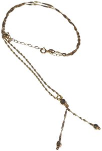 Milor 14kt Solid Yellow Gold Singapore Link Chain Tassel 19 to 22 Inch Long