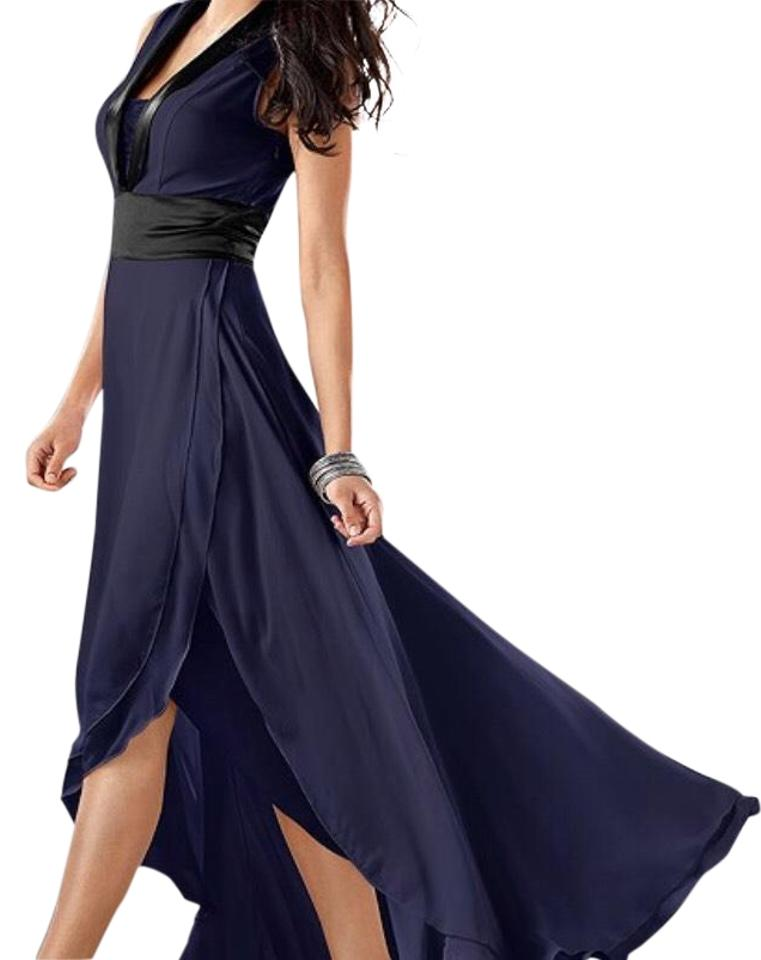 3550eebdb42 VENUS Blue/Black Tuxedo Long Casual Maxi Dress Size 4 (S) - Tradesy