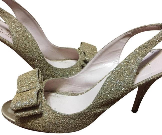 Kate Spade Gold Sparkle Bow Heal Formal Shoes Size US 9 Regular (M, B) Kate Spade Gold Sparkle Bow Heal Formal Shoes Size US 9 Regular (M, B) Image 1
