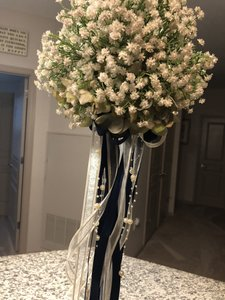 White/ Vory and Navy Blue 8 Floral Eiffel Tower Vases Centerpiece