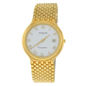 Wilsons Leather Authentic Unisex Wittnauer Cosmopolitan Quartz Date Gold Plated 34MM