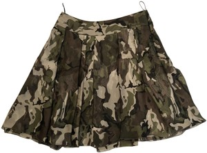Alexandre Vauthier Pleated A-line Silk Skirt Camouflage