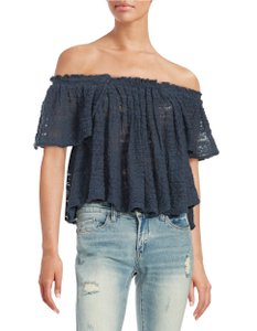 Free People Off The Shoulder Filly Lace T Shirt Navy