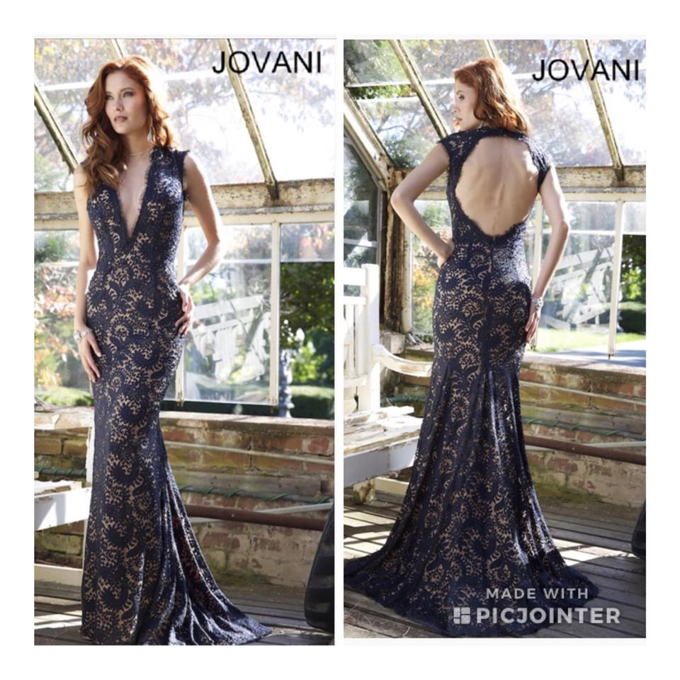 2a1c6ab48bf Jovani Navy Lace with Beading On Nude Bodice 78450 Evening Gown Long ...