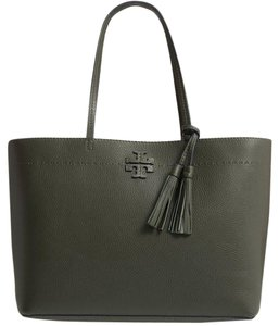 Tory Burch Mcgraw Black Leather Tote in Boxwood Green