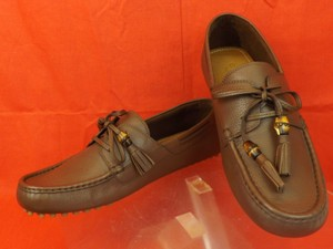 Gucci Brown/New Oak Mens Leather Damo Bamboo Tassel Driver Loafers 7.5 8.5 Shoes