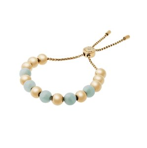 "Michael Kors Michael Kors ""Blush Rush"" Green/Blue Gold Tone Beaded Bracelet"