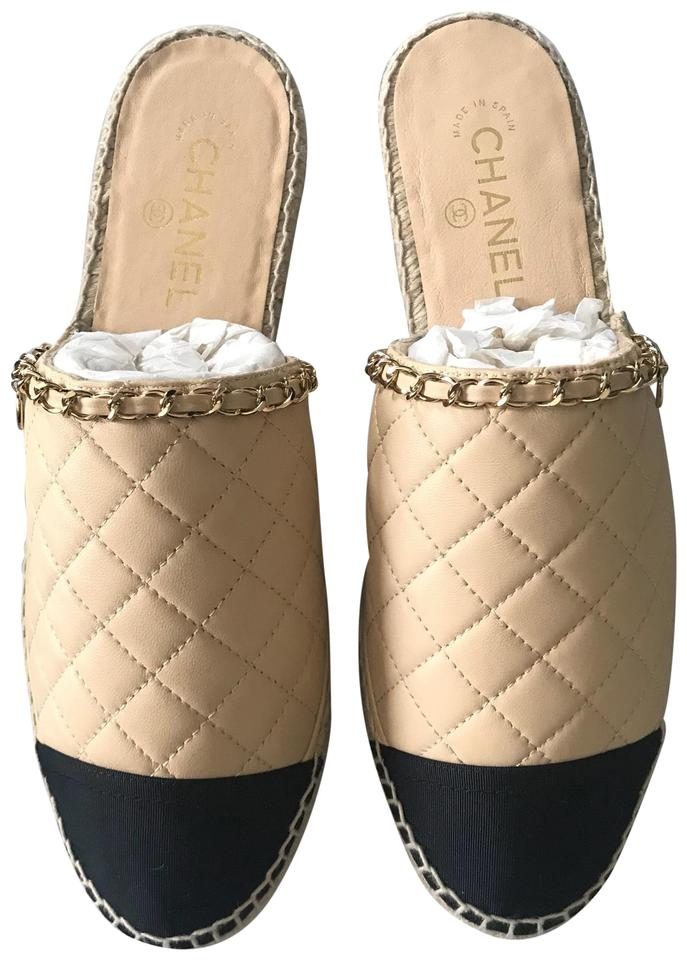 7ed875443041 Chanel Beige Black Gold New Espadrilles Quilted Leather 11.5 12 ...