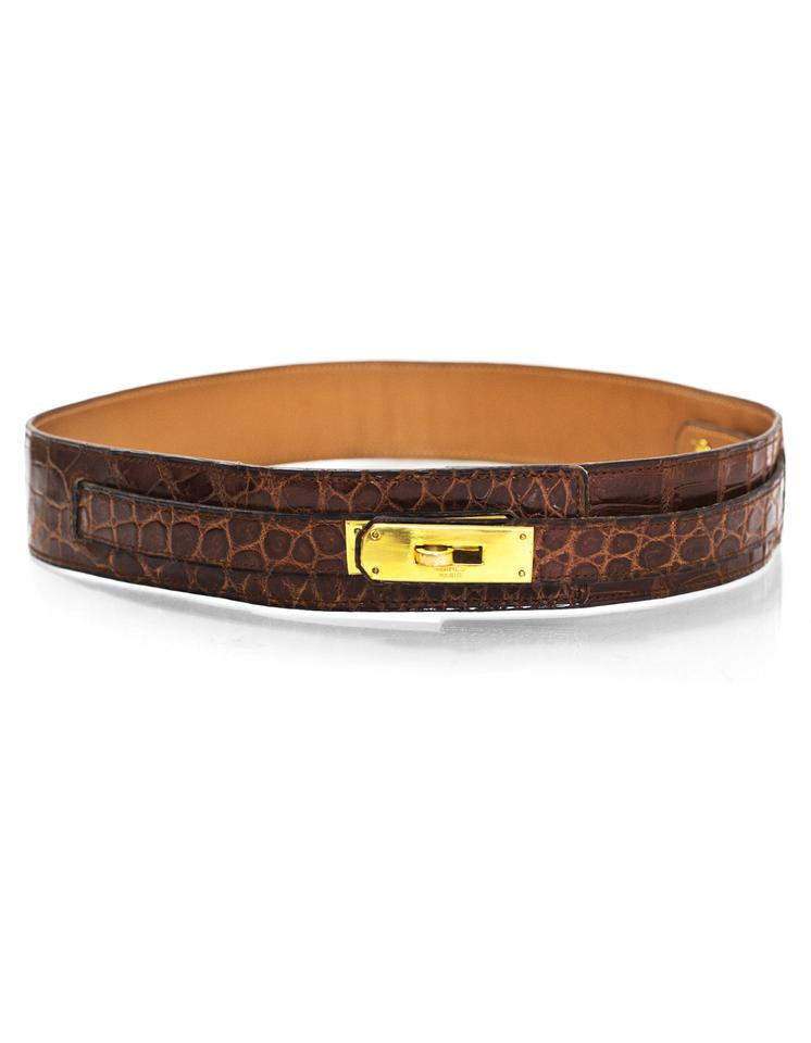 b3053b8c9 Hermès Hermes Brown Vintage Crocodile Kelly Belt with Box Image 0 ...