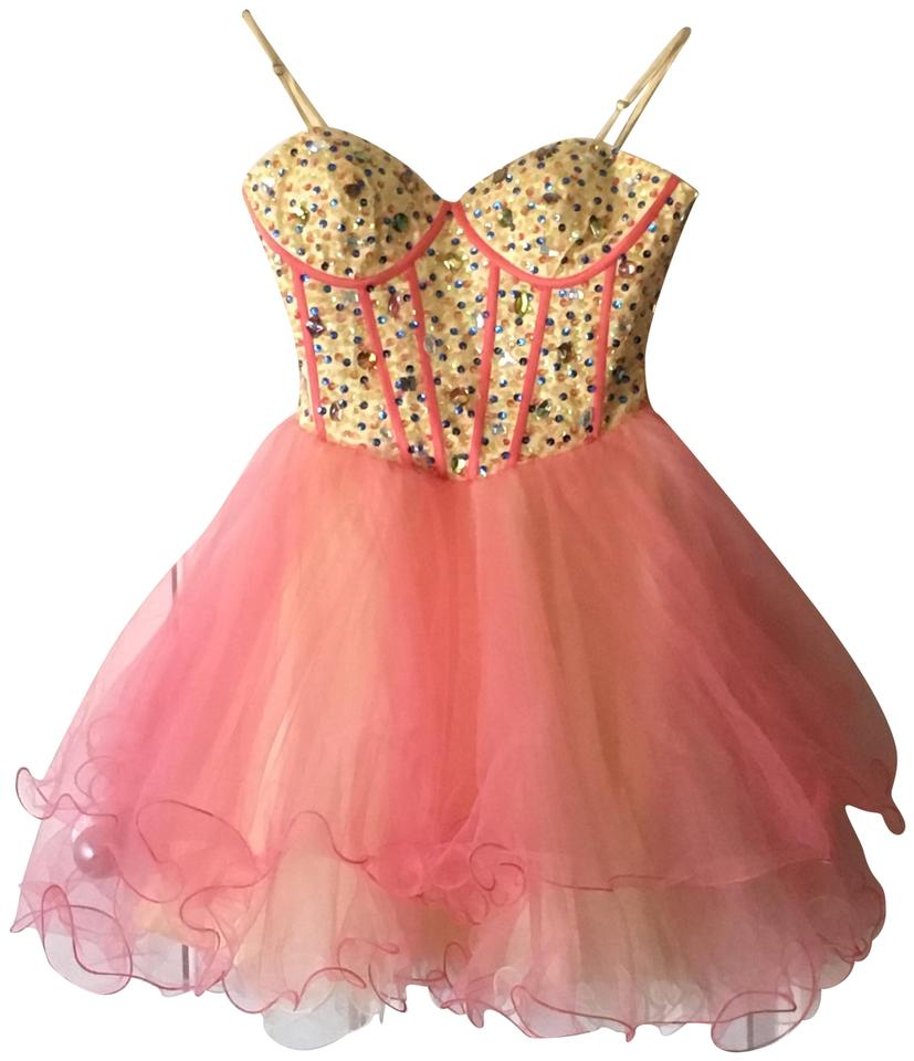 Two-toned Pink Party Dress/Cocktail Dress/Evening Short Night Out ...