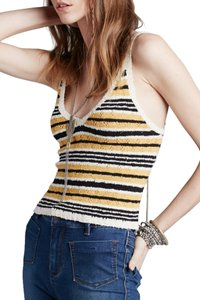 Free People Halter Knit Summer Outfit Top Yellow Stripes