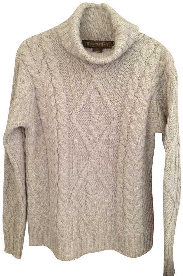 Inis crafts pale taupe white irish sweater pullover size 8 for Inis crafts ireland sweater