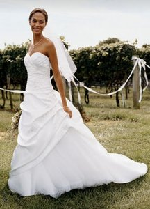 David's Bridal White Satin and Tulle Asymmetrical Pick-up Gown Formal Wedding Dress Size 12 (L)