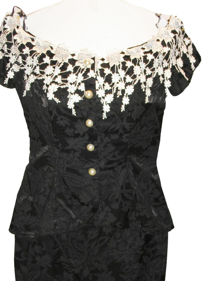 9be9e41c286 Just Female Black White 2pcs Lace Trim Peblum Brocade Jacket   Skirt Cocktail  Dress