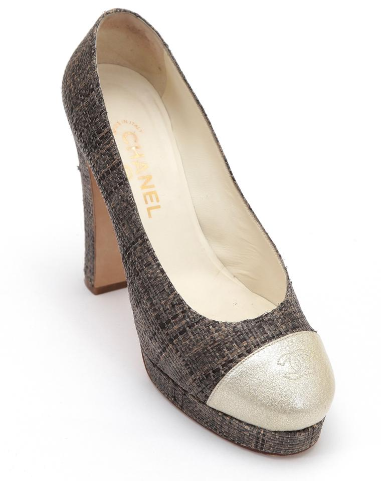 8be073b35dfb2 Chanel Brown Gold Pump Straw Patent Leather Tweed Cap Toe Platforms ...