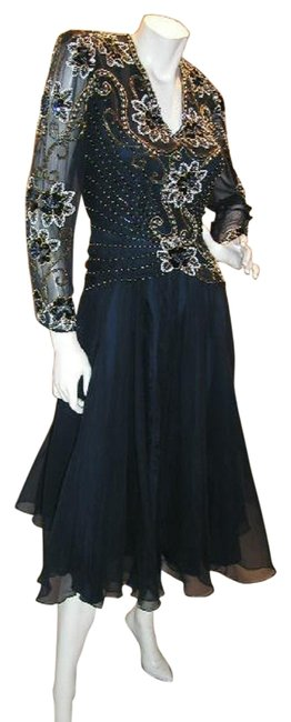 Item - Navy Blue & White/Gold W Drop Waist Embellished Bodice W/Soft Flare Mid-length Night Out Dress Size 18 (XL, Plus 0x)