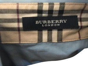 Burberry Tailored Button Down Shirt Pattern Top Blue