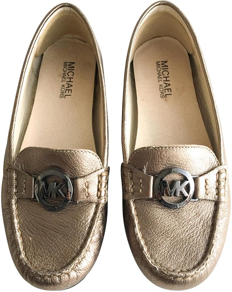 97757a7a878 Michael Kors Nickel Molly Metallic Leather Loafers Flats Size US 6.5 ...