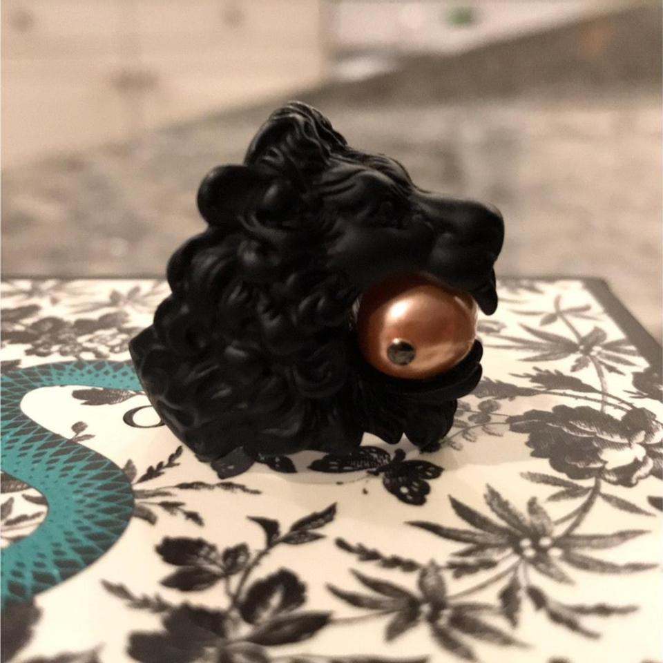 bf1e2a3de4d Gucci Lion Head Ring with Glass Pearl Image 9. 12345678910
