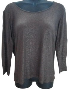 Chico's Shimmery Metalic Glittery Casual T Shirt Brown