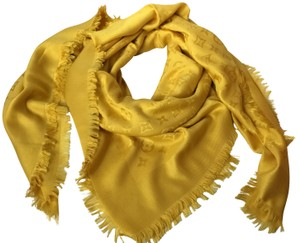 Louis Vuitton Louis Vuitton Monogram Yellow Silk Wool Shawl Scarf Wrap