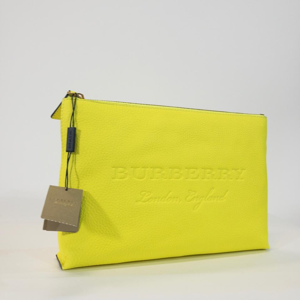 3c5a4f628999 Burberry Duncan Zip Pouch Bright Yellow Leather Clutch - Tradesy