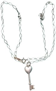Tiffany & Co. Tiffany & Co Sterling Silver and Diamond Heart Key Pendant Necklace