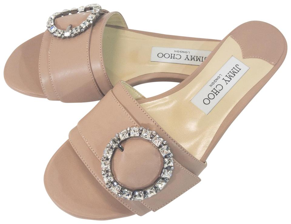 68e82a9b0a7 Jimmy Choo Ballet Pink Granger 35 Crystal Embellished Leather Sandals
