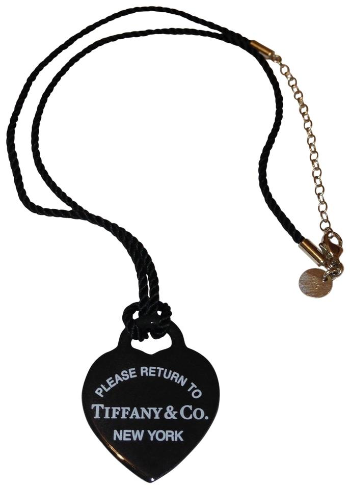 49f464f7c8f66 Tiffany & Co. Black Large Heart Bone Pendant Necklace/Choker Necklace