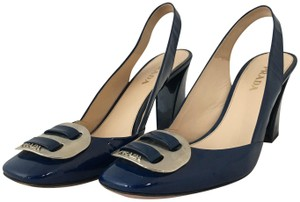 Prada Leather Patent Leather Buckle Navy Pumps