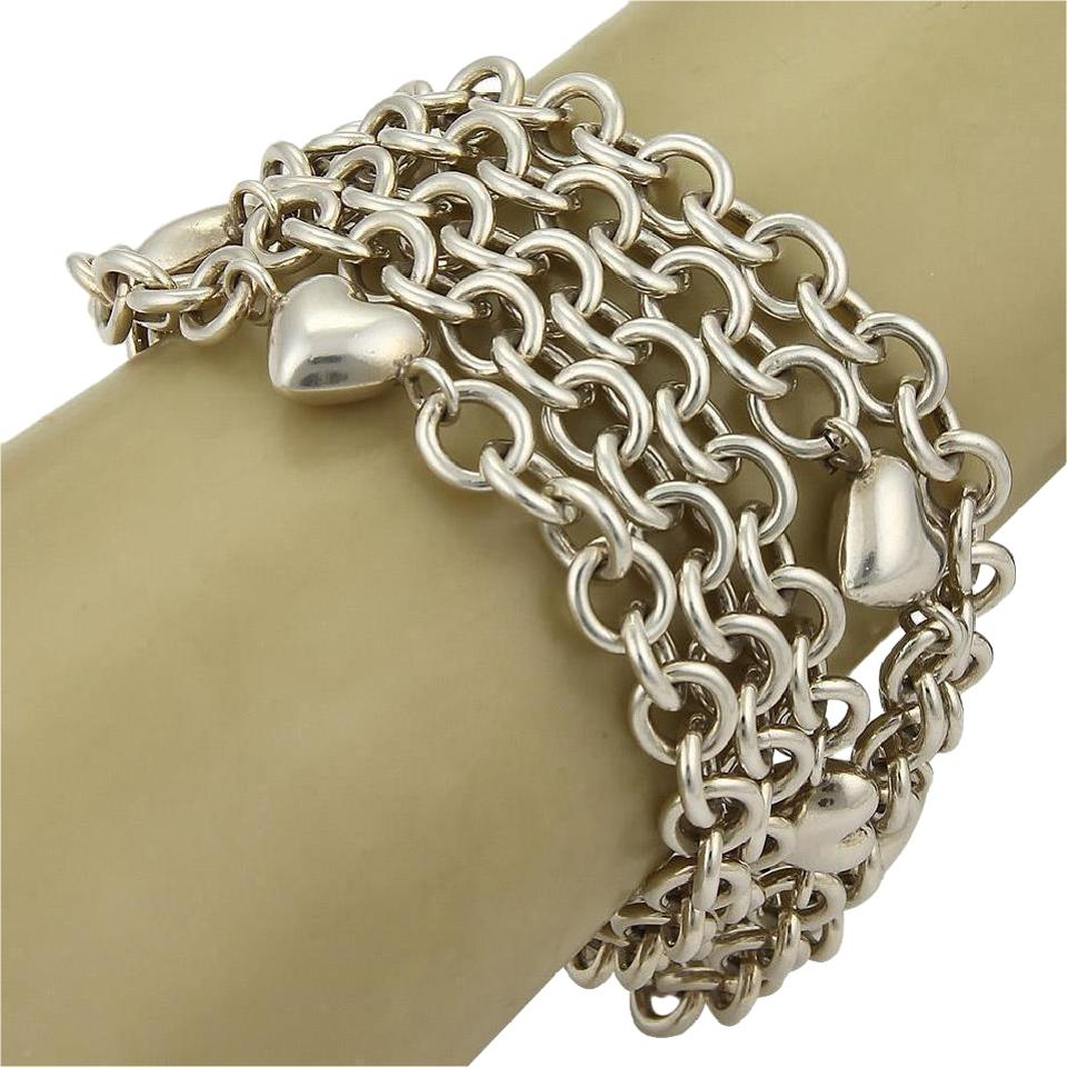 3d56b7f1d8915 Tiffany & Co. Sterling Silver Multi-chain Puff Hearts Toggle Clasp Bracelet