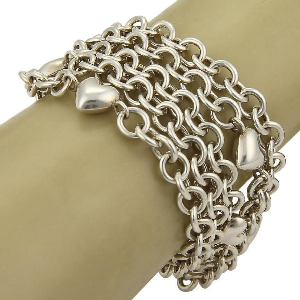 12eb238a3 Tiffany Sterling Multi-Chain Puff Hearts Toggle Clasp Bracelet Image 2. 123