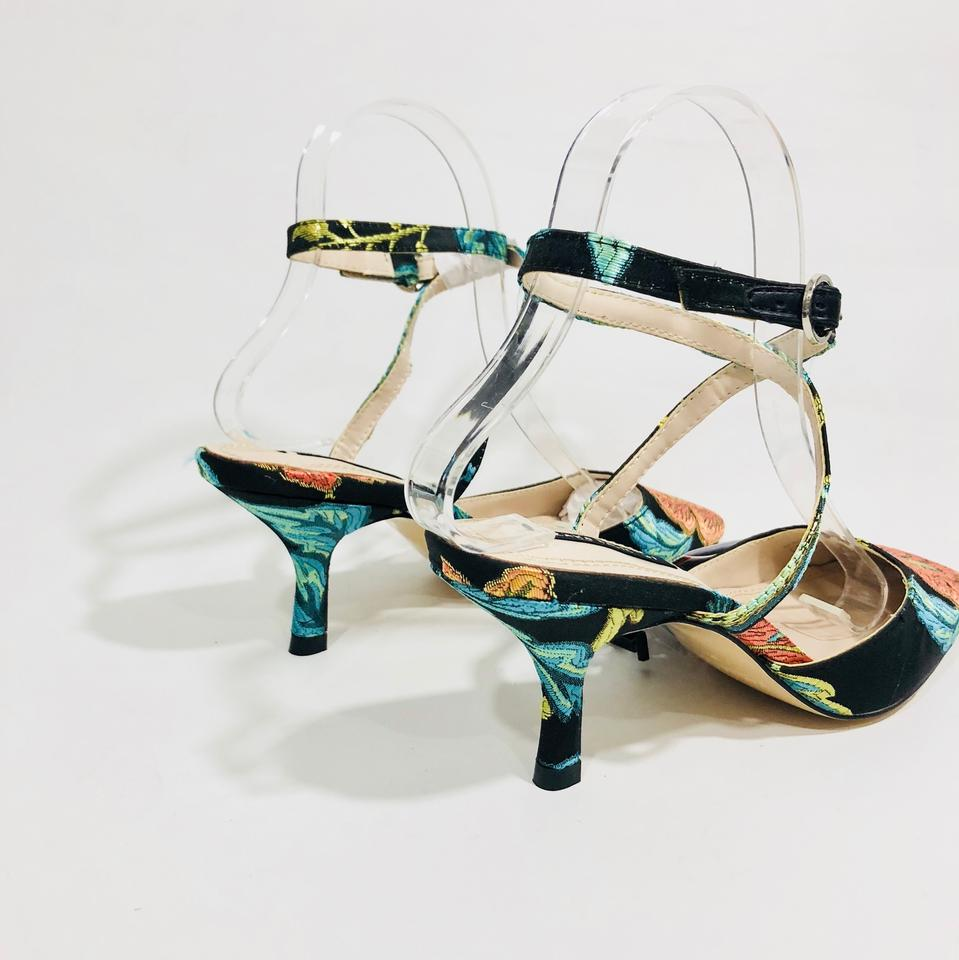 12e321917a1 Zara Multicolor Embroidered Kitten Heel Mules Slides Size US 6.5 ...