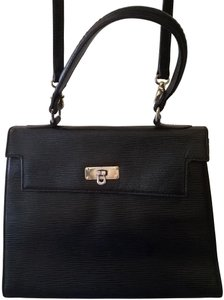 7e46165a7a09 Saks Fifth Avenue Kelly Leather Vintage Italy Satchel in Black