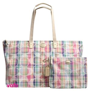 Coach Tote 2 Piece Set Packable Foldable Beach Washable Multi-Colored, Blue, Pink, White, Green, Orange Travel Bag