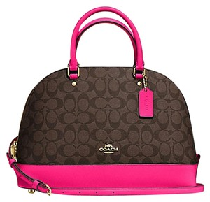 Coach Cora Domed Purse Border Studed 37238 Satchel in pink brown