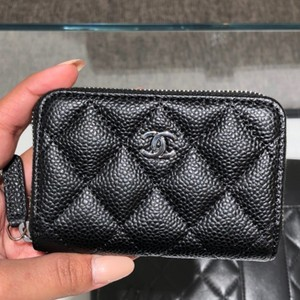 30715798f5f6 Chanel Black Leather w/ Silver HW Classic Zip Around Coin Purse Card Holder Caviar  Wallet