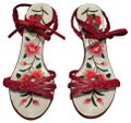 Vivienne Tam Braided Embroidered Leather Luxury Red Pumps