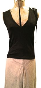 arman Embelishment Grommet V-neck Sleeveless Metallic Hardware Silver Hardware Top black