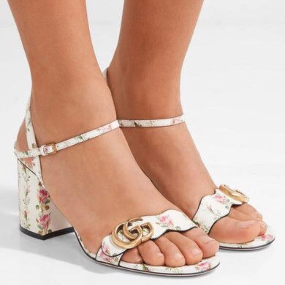 3bd53ed0f5c Gucci White Marmont 75mm Rose Printed G Sandals Size EU 37.5 (Approx. US  7.5) Regular (M